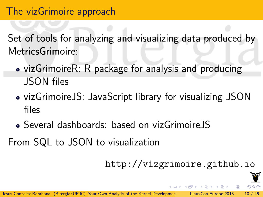 The vizGrimoire approach Set of tools for analy...