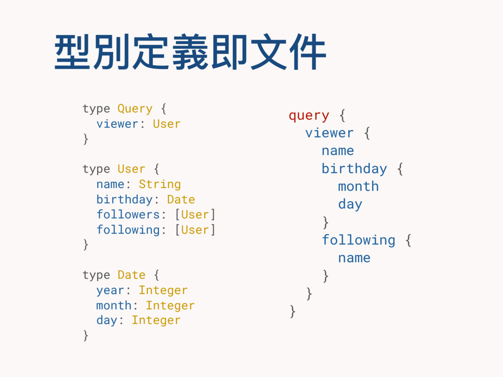 型別定義即⽂文件 query { viewer { name birthday { month...