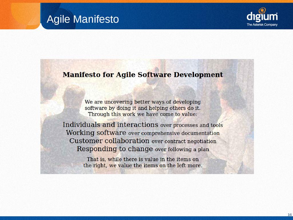 16 Agile Manifesto