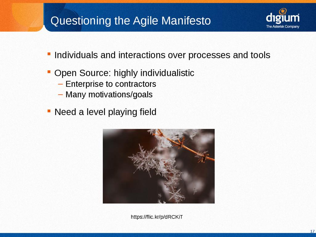 17 Questioning the Agile Manifesto  Individual...