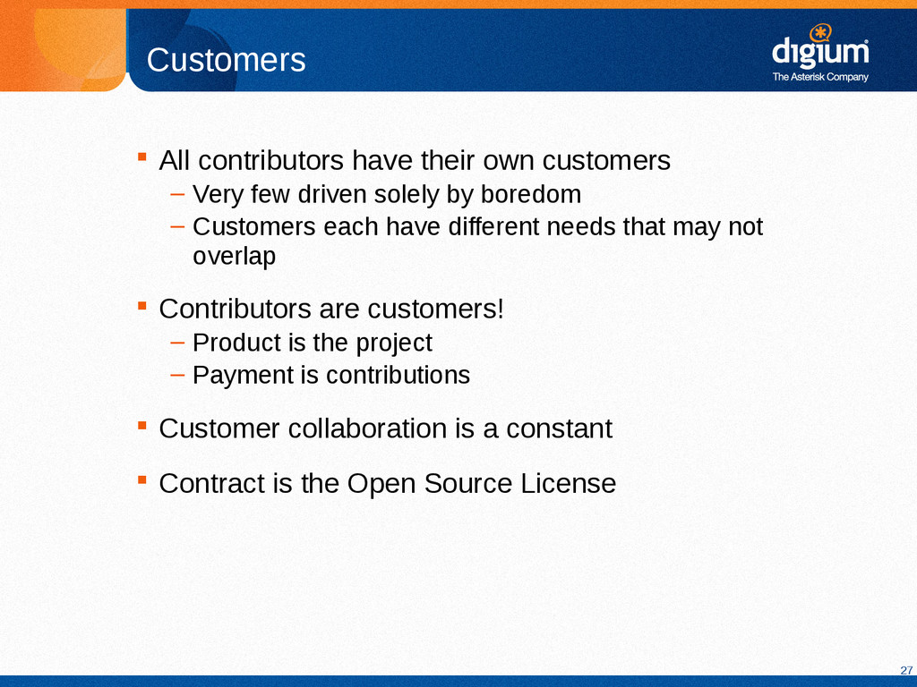 27 Customers  All contributors have their own ...