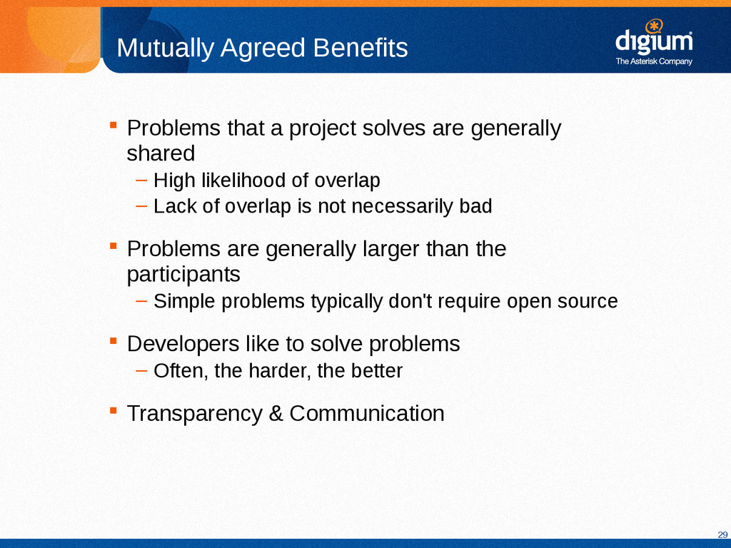 29 Mutually Agreed Benefits  Problems that a p...