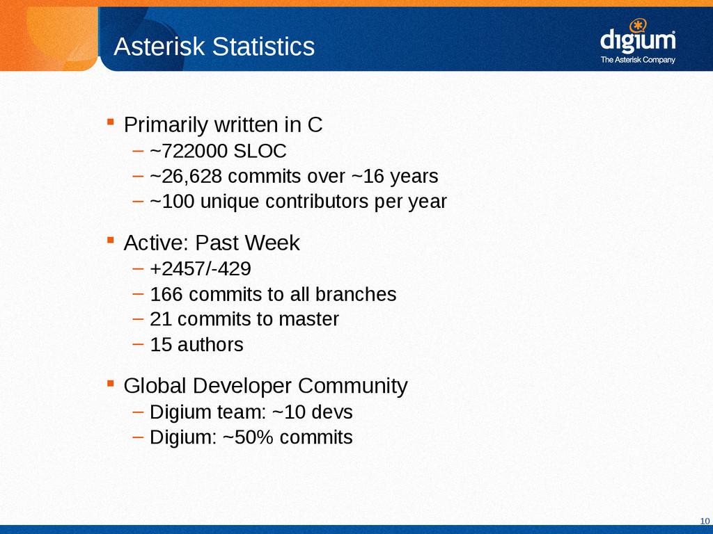 10 Asterisk Statistics  Primarily written in C...