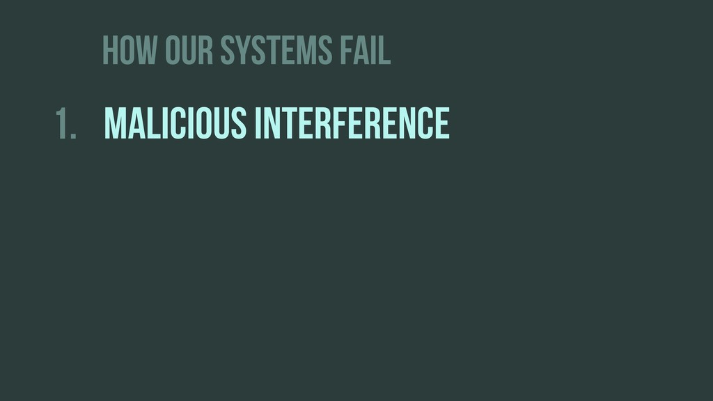 HOW OUR SYSTEMS FAIL 1. MALICIOUS INTERFERENCE