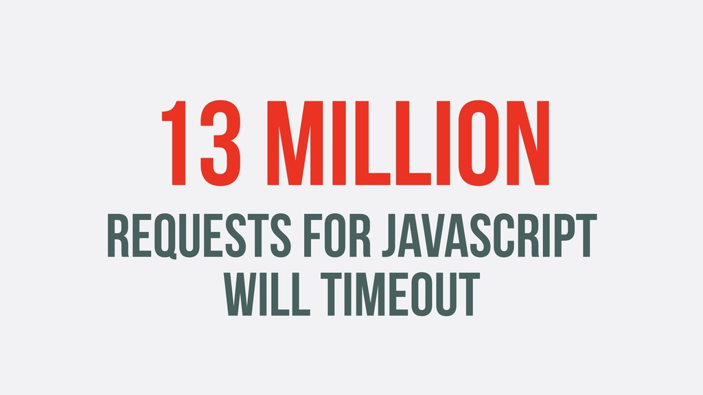 13 MILLION REQUESTS FOR JAVASCRIPT WILL TIMEOUT