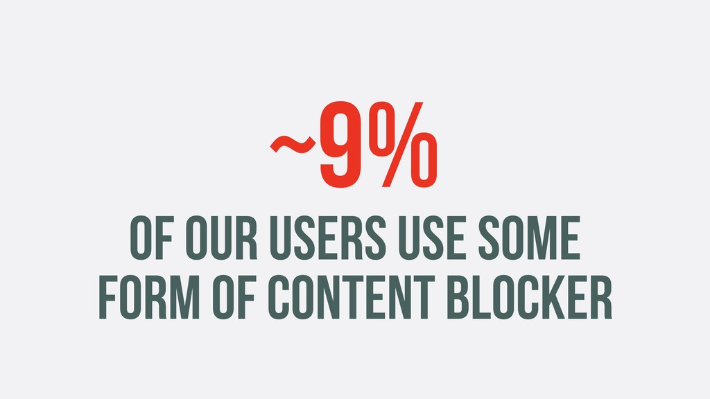 ~9% OF OUR USERS USE SOME FORM OF CONTENT BLOCK...