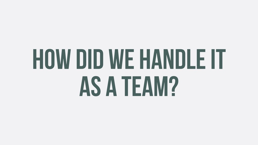 HOW DID WE HANDLE IT AS A TEAM?
