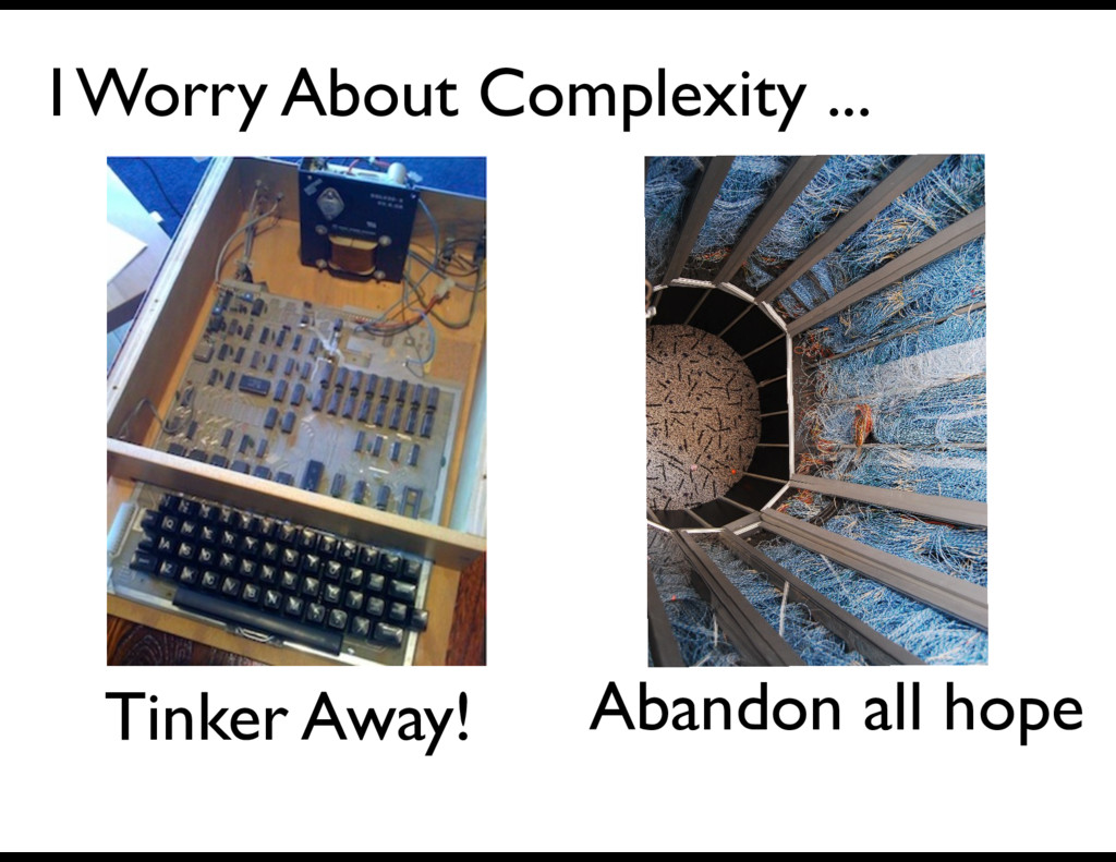 Tinker Away! I Worry About Complexity ... Aband...