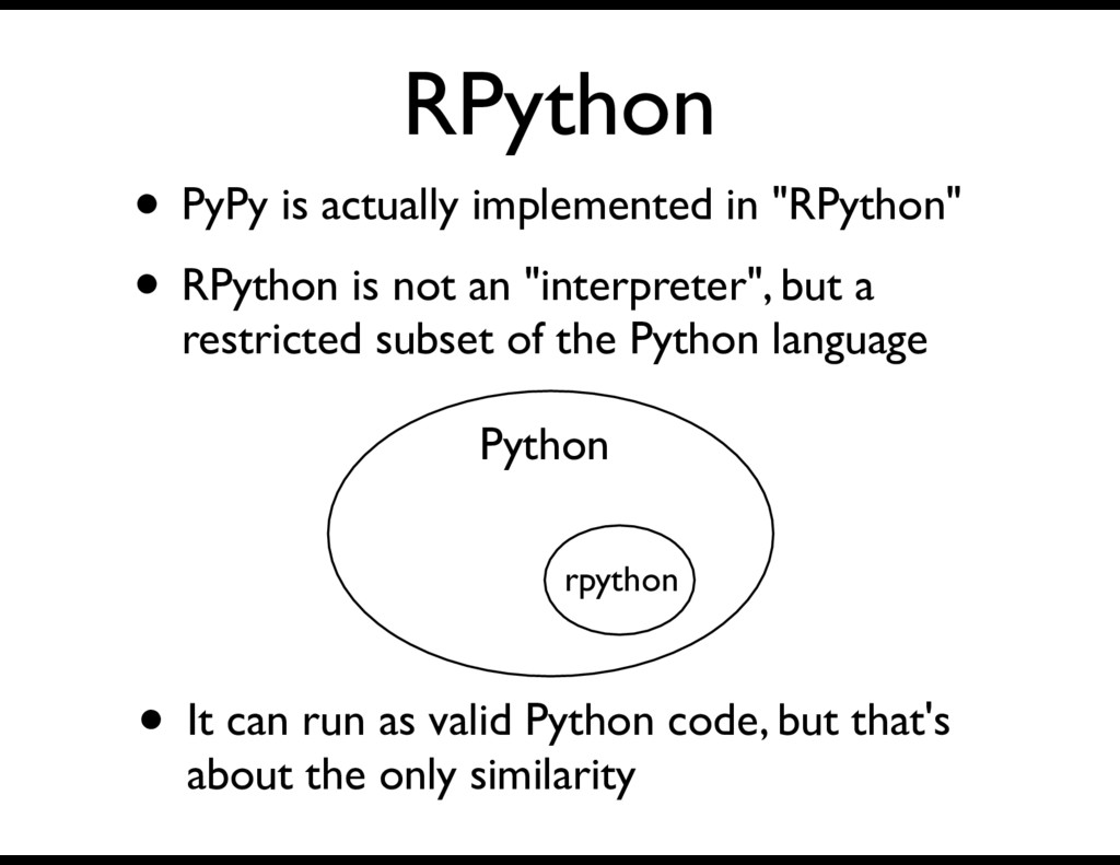 """RPython • PyPy is actually implemented in """"RPyt..."""