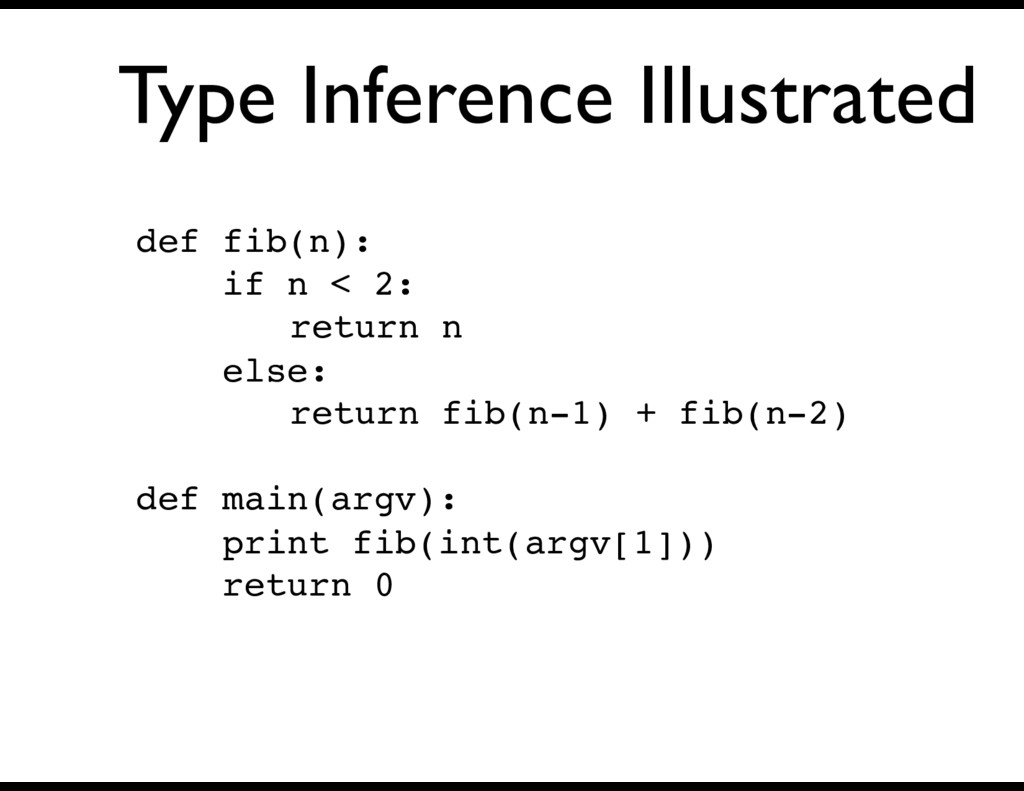 Type Inference Illustrated def fib(n): if n < 2...