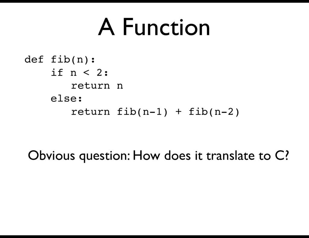 A Function def fib(n): if n < 2: return n else:...