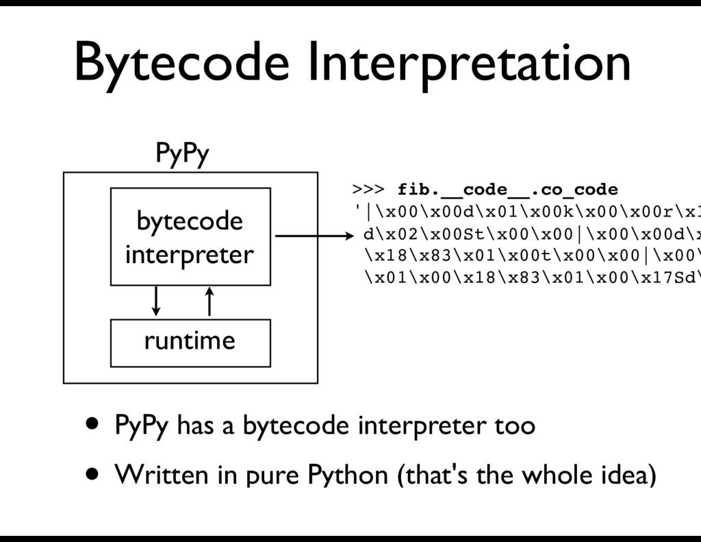 Bytecode Interpretation PyPy • PyPy has a bytec...