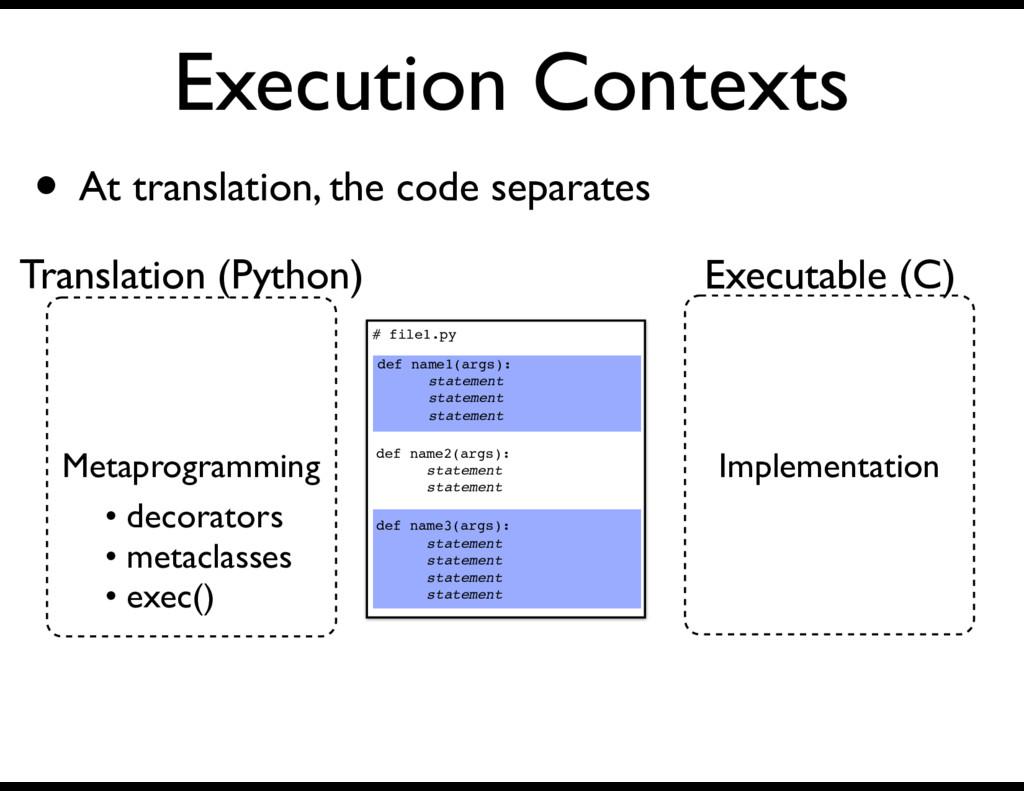 Execution Contexts # file1.py def name2(args): ...