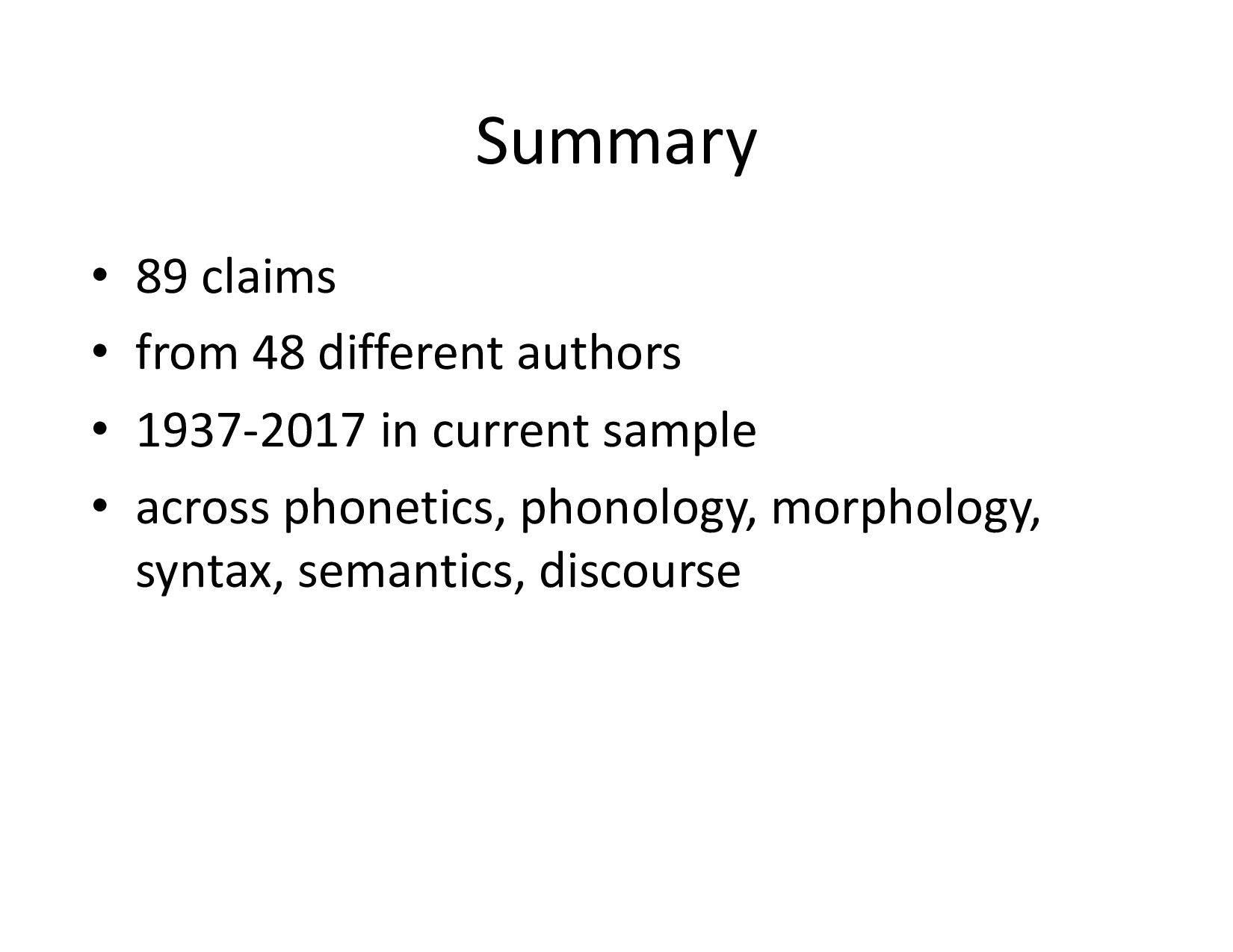 Summary • 89 claims • from 48 different autho...