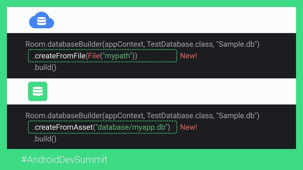 #AndroidDevSummit Room.databaseBuilder(appConte...