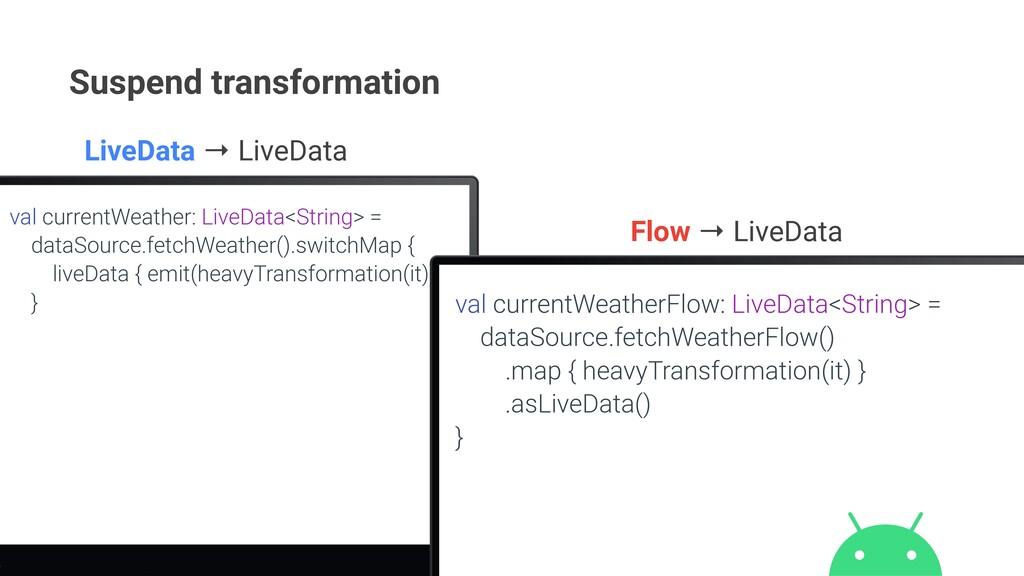 Suspend transformation val currentWeather: Live...