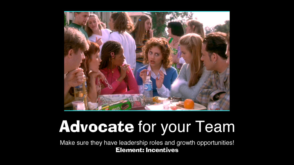 Advocate for your Team Make sure they have lead...