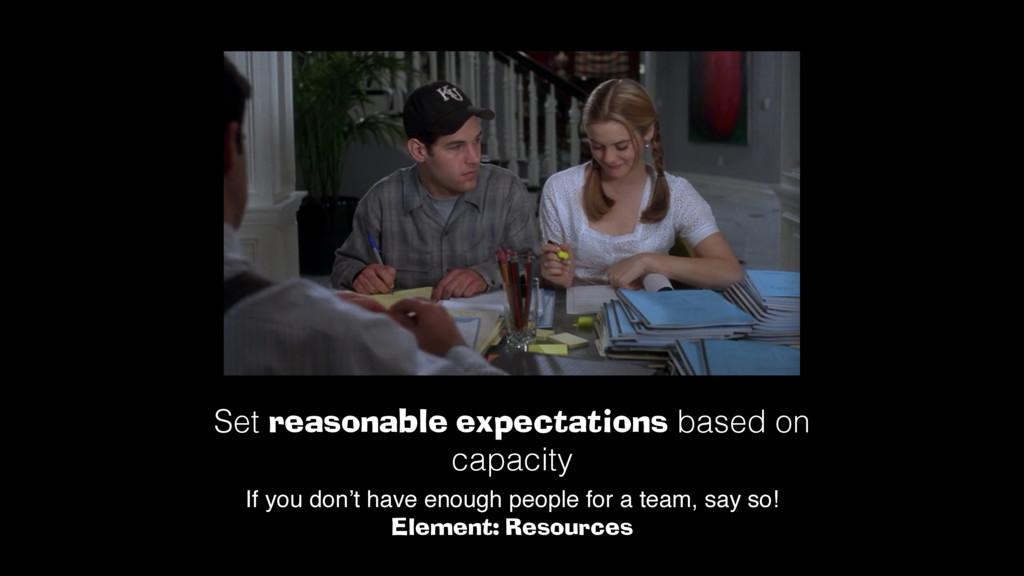 Set reasonable expectations based on capacity! ...