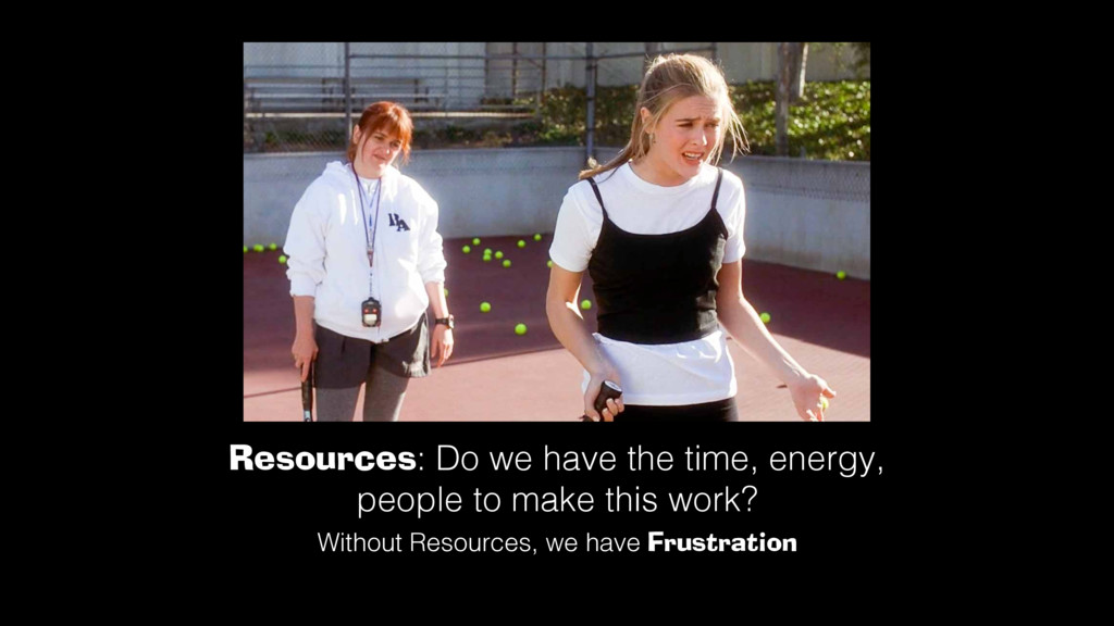 Resources: Do we have the time, energy, people ...