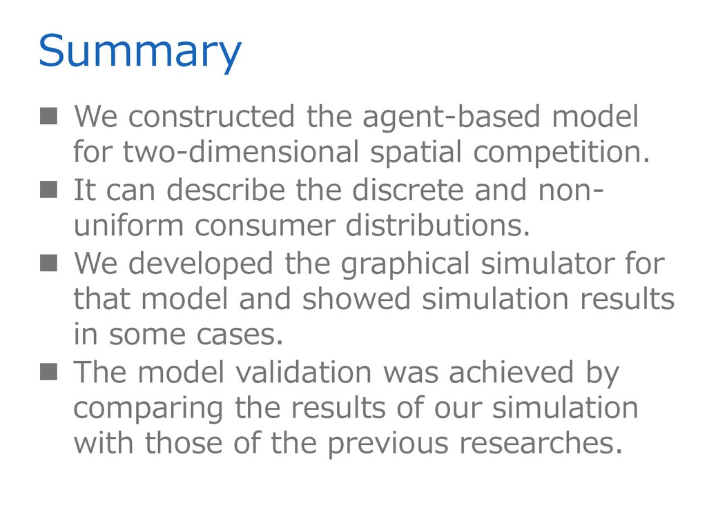 Summary  We constructed the agent-based model ...