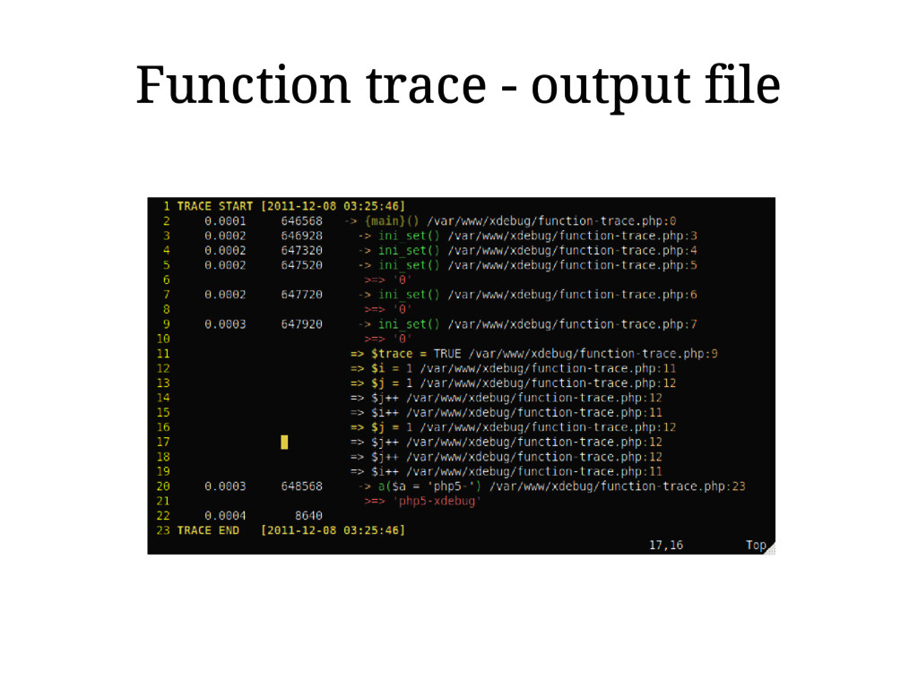 Function trace - output file