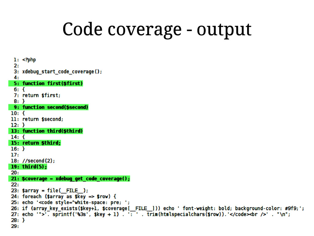 Code coverage - output