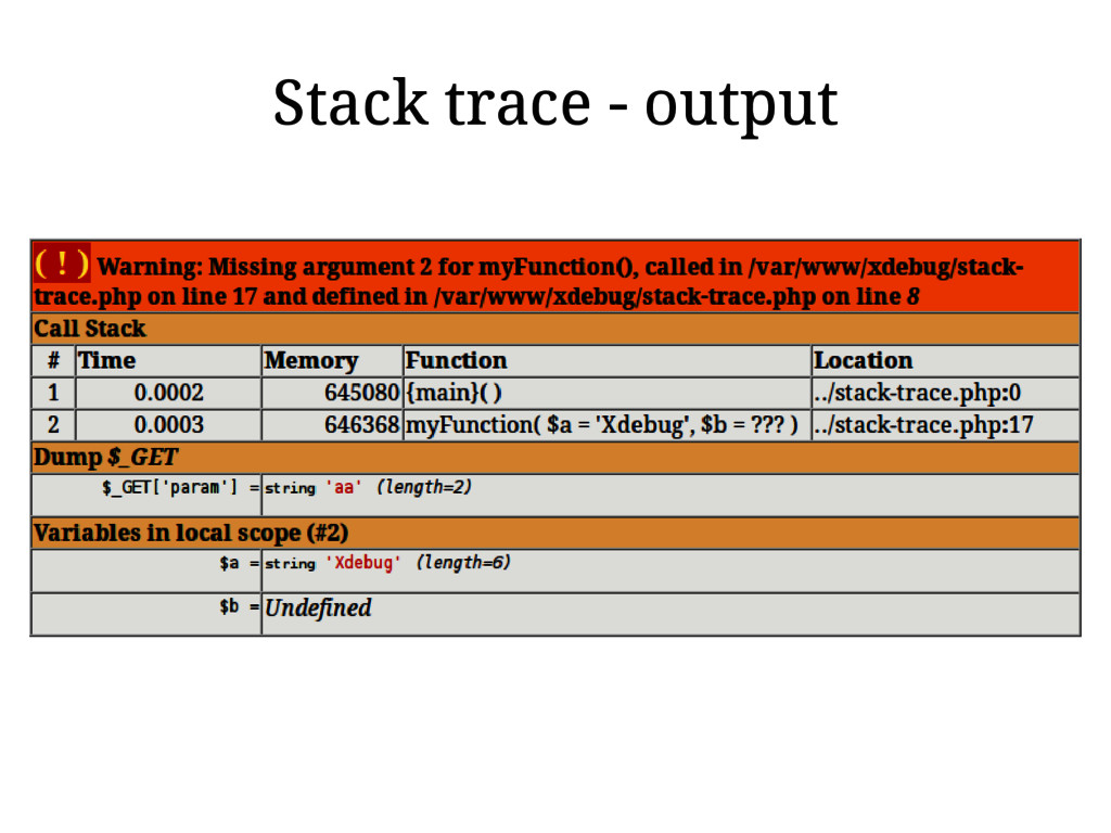 Stack trace - output