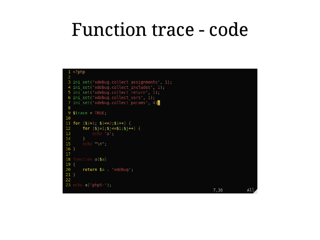 Function trace - code