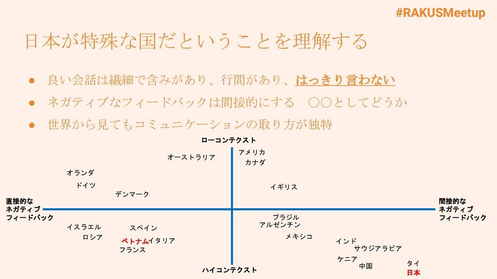#RAKUSMeetup 日本が特殊な国だということを理解する ● 良い会話は繊細で含みがあり...