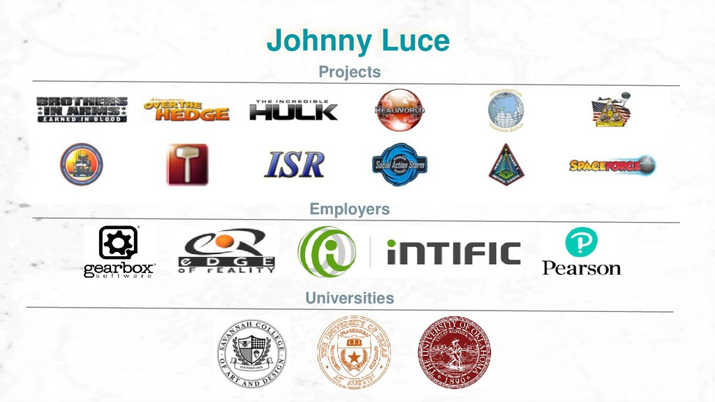 Johnny Luce Projects Employers Universities