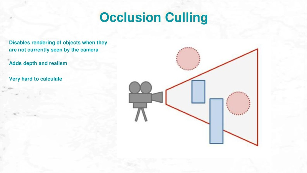 Occlusion Culling Adds depth and realism Very h...