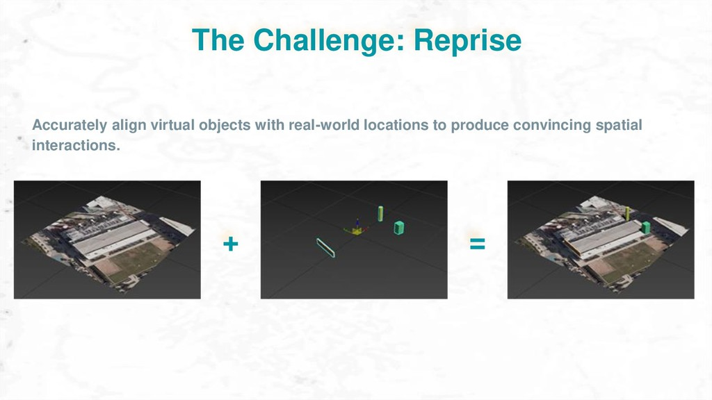 The Challenge: Reprise + = Accurately align vir...