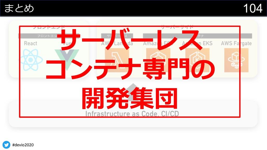 #devio2020 104 まとめ サーバーレス コンテナ専⾨の 開発集団