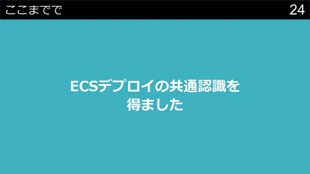 24 ここまでで ECSデプロイの共通認識を 得ました
