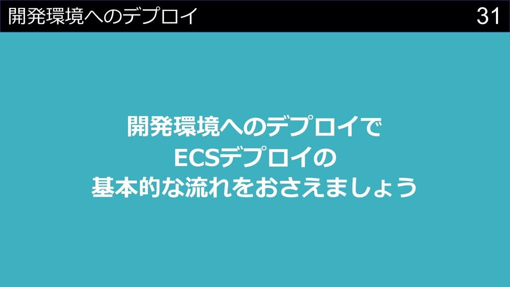 31 開発環境へのデプロイ 開発環境へのデプロイで ECSデプロイの 基本的な流れをおさえまし...