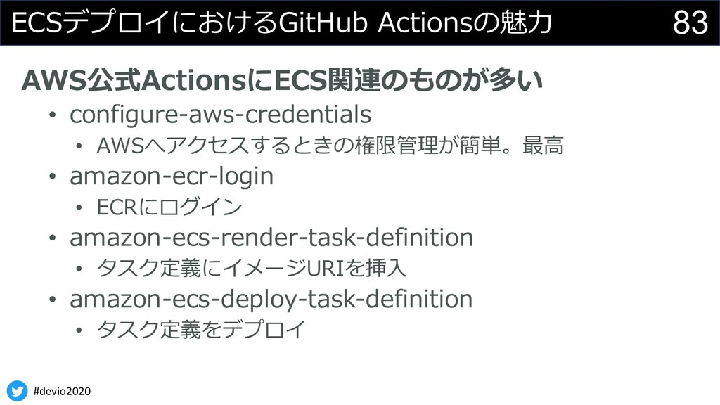 #devio2020 83 ECSデプロイにおけるGitHub Actionsの魅⼒ AWS公...