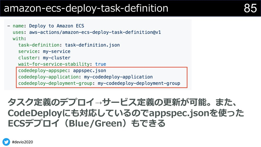 #devio2020 85 amazon-ecs-deploy-task-definition...