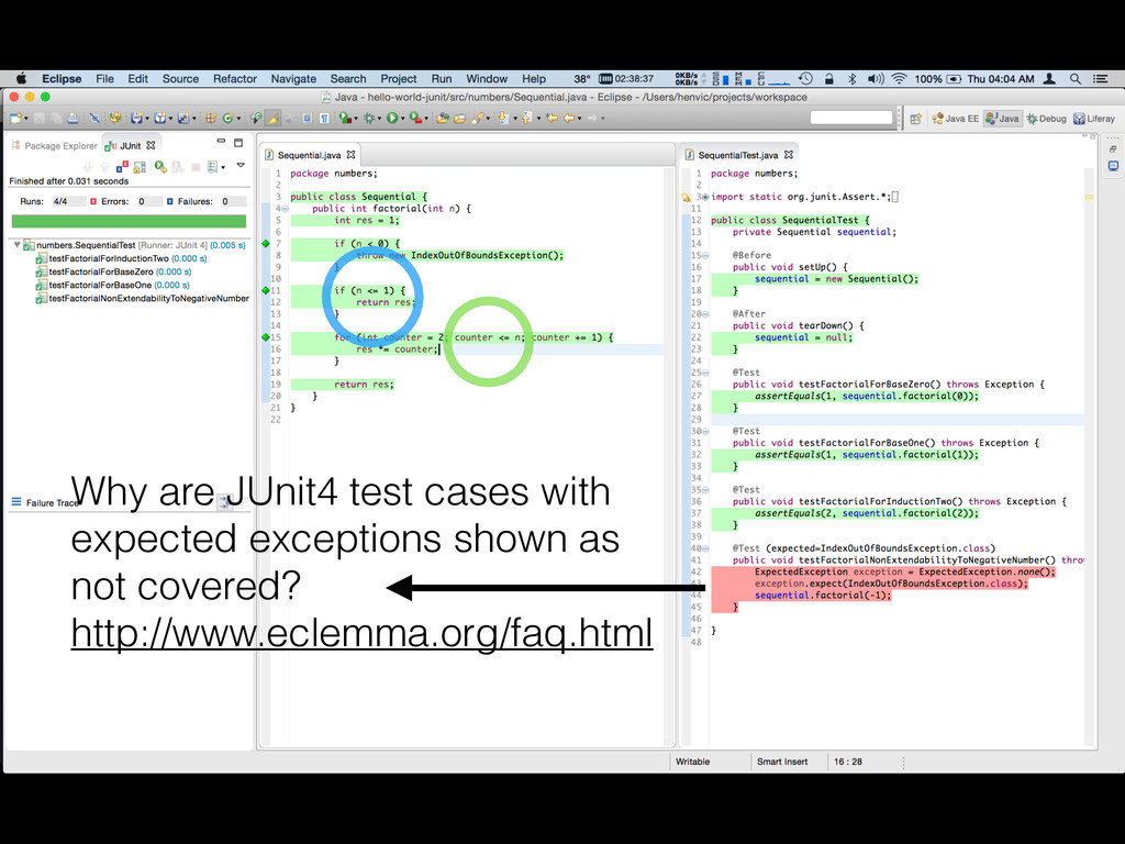 Why are JUnit4 test cases with expected excepti...
