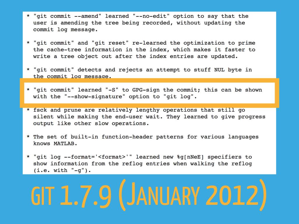GIT 1.7.9 (JANUARY 2012)