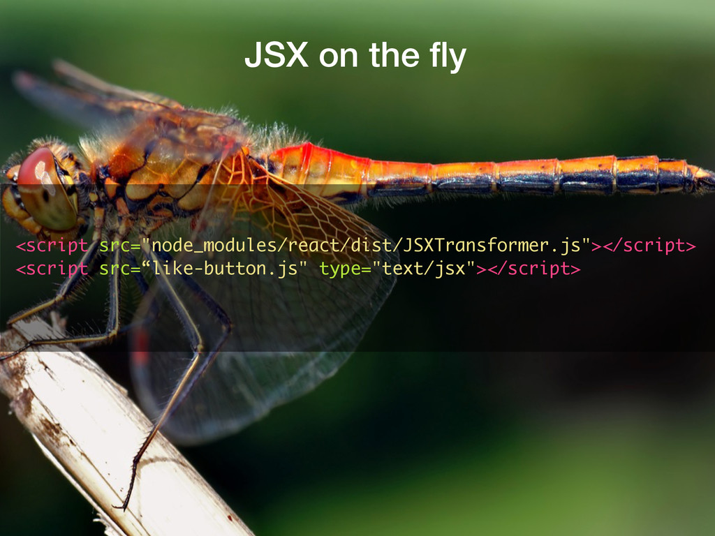 "JSX on the fly <script src=""node_modules/react/d..."