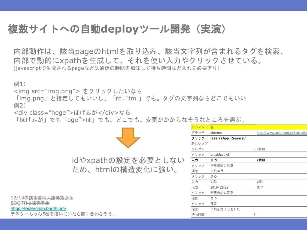 複数サイトへの自動deployツール開発(実演) 内部動作は、該当pageのhtmlを取り込み...