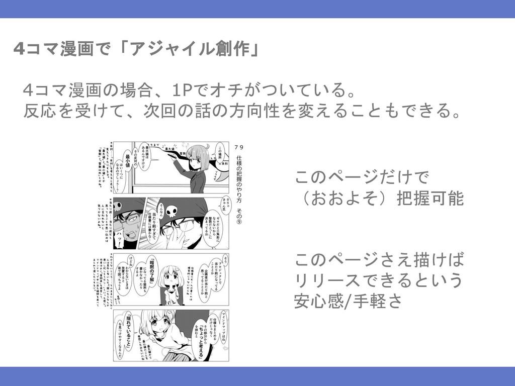 4コマ漫画で「アジャイル創作」 4コマ漫画の場合、1Pでオチがついている。 反応を受けて、次回...
