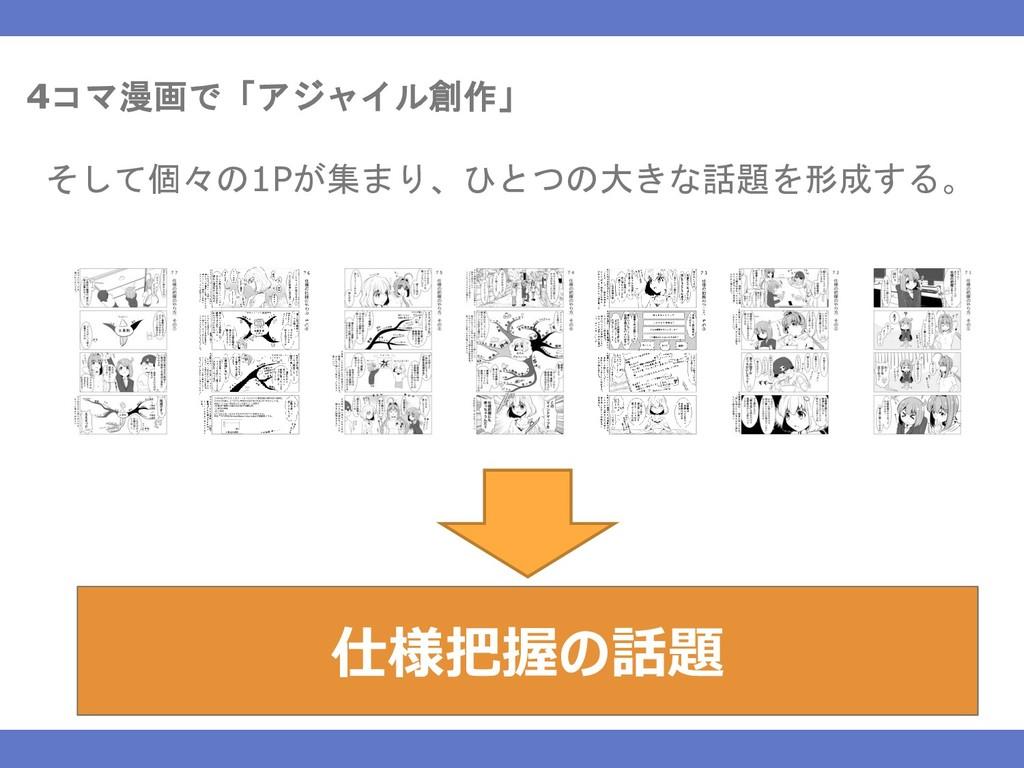 4コマ漫画で「アジャイル創作」 そして個々の1Pが集まり、ひとつの大きな話題を形成する。 仕様...