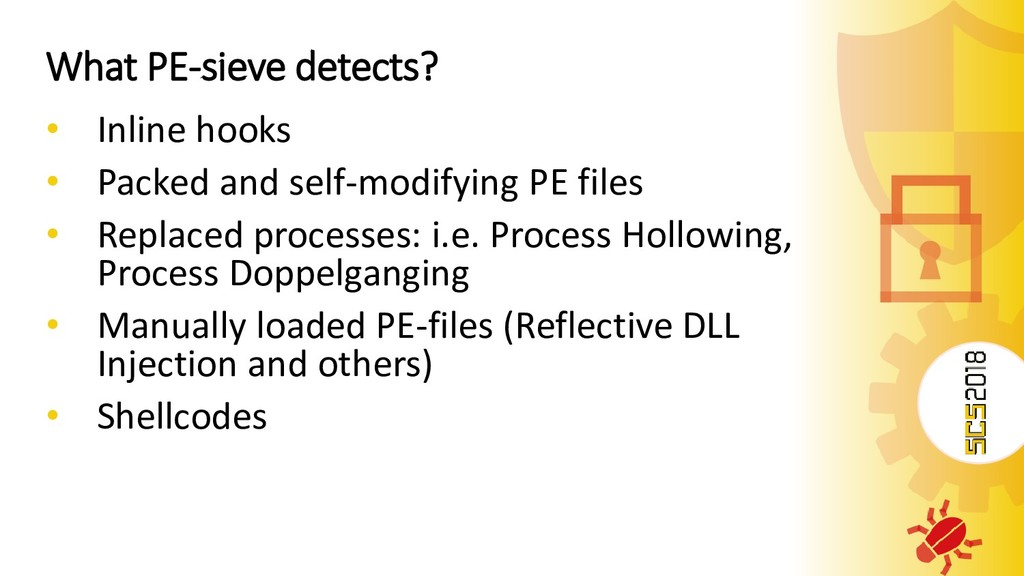 What PE-sieve detects? • Inline hooks • Packed ...