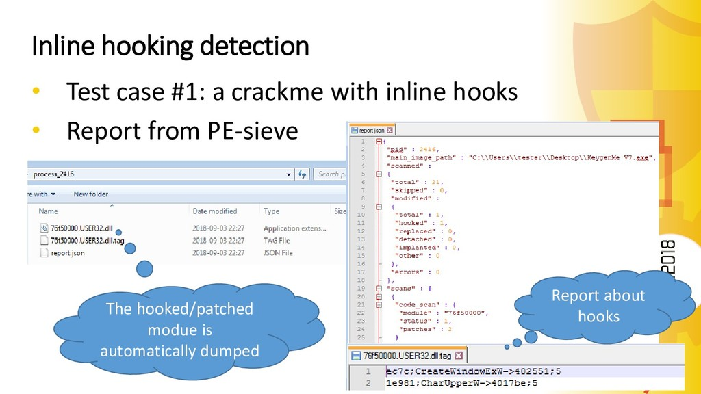 Inline hooking detection • Test case #1: a crac...