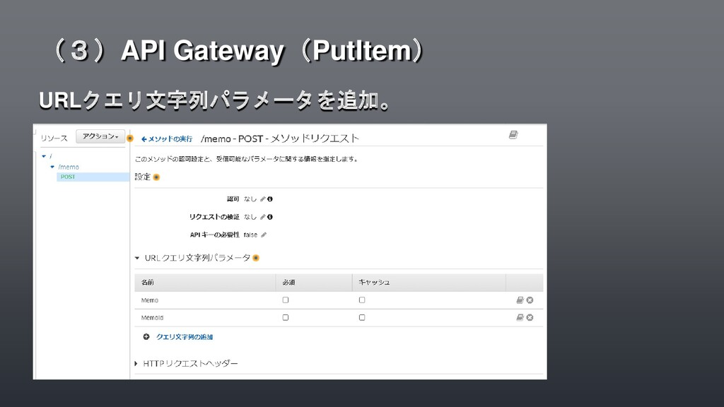 URLクエリ文字列パラメータを追加。 (3)API Gateway(PutItem)