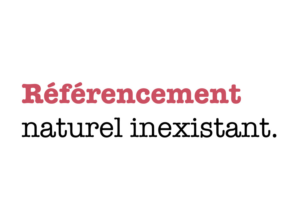 Référencement naturel inexistant.