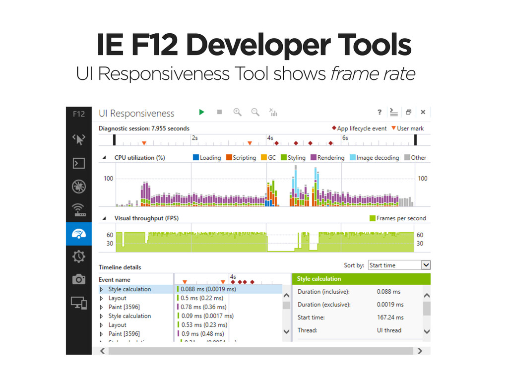 IE F12 Developer Tools UI Responsiveness Tool s...