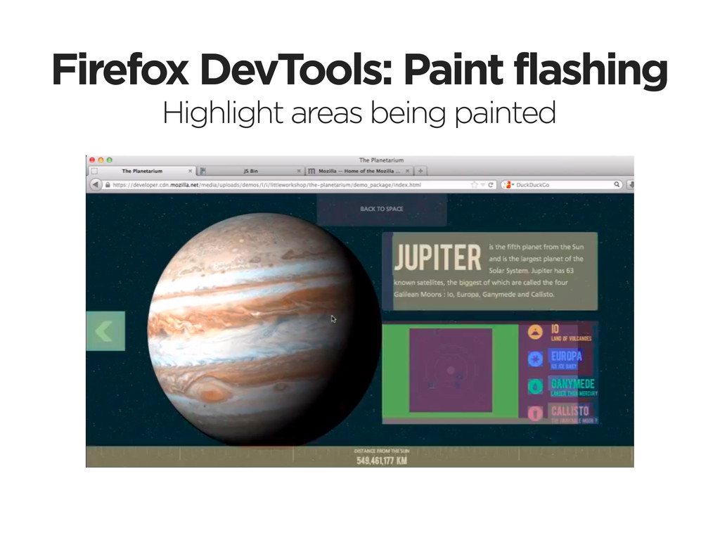 Firefox DevTools: Paint flashing Highlight area...