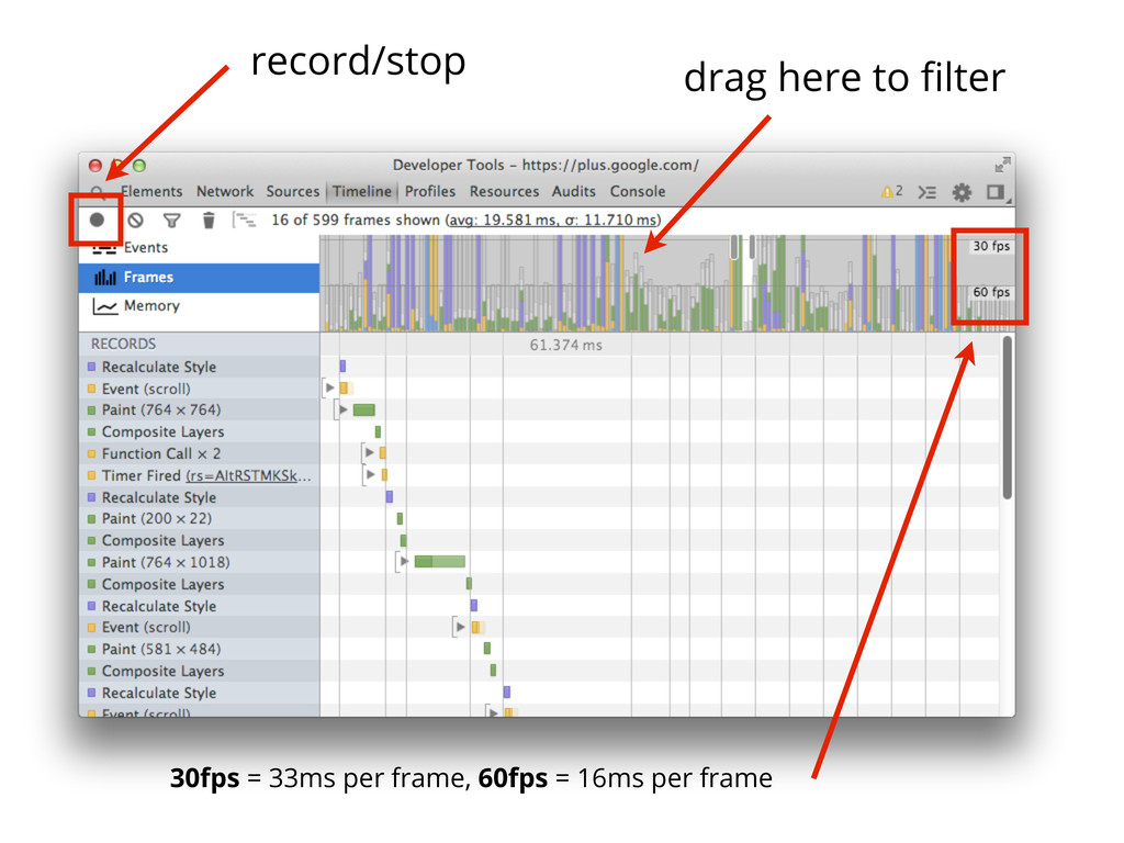 drag here to filter record/stop 30fps = 33ms per...